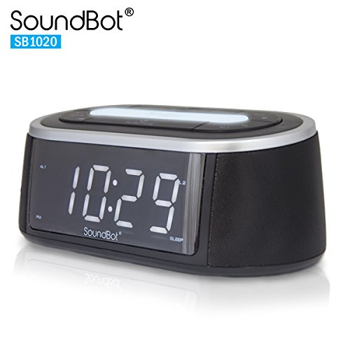 SoundBot® SB1020 FM RADIO Bluetooth Wireless Speaker & Dual Alarm Clock for Music Streaming & Hands-Free Talking w/ FM Tuner, 2.1A USB Charging Output, Built-In Mic,3.5mm AUX Line-In, LED Night Light