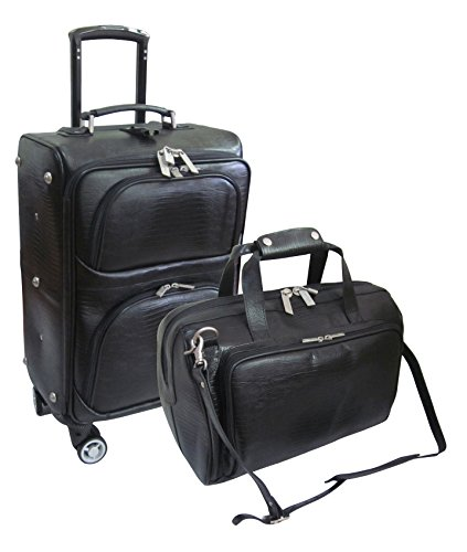 amerileather-leather-lizard-print-two-piece-set-traveler-on-spinner-wheels-8602-789-black