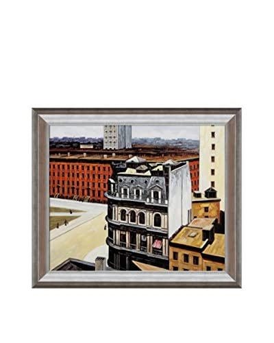 "Edward Hopper ""The City"" Framed Hand-Painted Oil Reproduction"