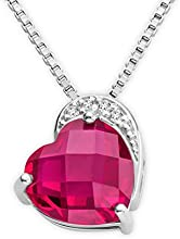 Byjoy 925 Sterling Silver Heart Shape Ruby Pendant on 45cm Curb Chain BAE346N