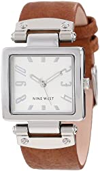 Nine West Women's NW/1339SVHY Square Silver-Tone Honey Strap Watch