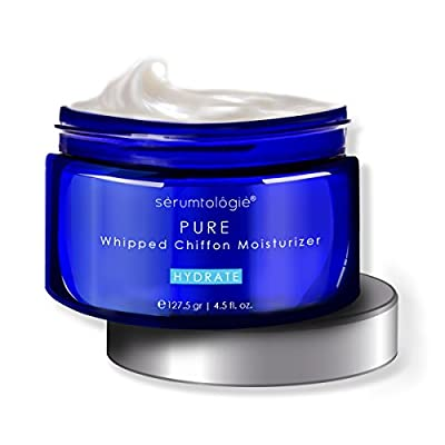 serumtologie® PURE Whipped Chiffon Moisturizing Skin Care Cream | Anti Aging Facial Moisturizer | Natural & Organic Lotion for Men & Women | Hypoallergenic | Non Greasy, Oil & Fragrance Free | Best for Normal, Oily, Combination & Sensitive Skin | 4oz