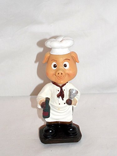 NEW BOBBLEHEAD BARNYARD PIG PIGGLET CHEF WITH WINE & GLASS STATUE FIGURE 6