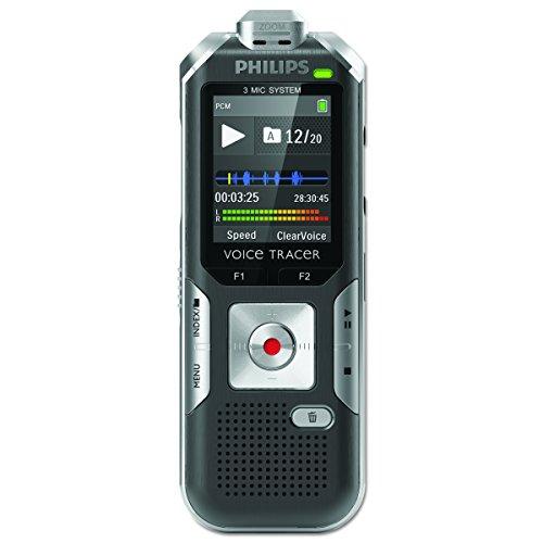 DVT6000 Digitales Diktiergerät mit 3 Mic Auto Zoom+, Bewegungssensor, Metallgehäuse, Micro-USB-Anschluss, 4 GB interner Speicher, Li-Polymer-Akku, MP3, Plug and Play, Win/Mac/Linux, Silber