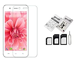 2016 New offer Buy one Micromax Canvas Selfie 2 Q3400.3 mm Curve Bubble free Scratch Free Tempered Glass Get two Nossy naino Sim Card Adapter