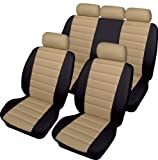 NISSAN X-TRAIL 01-07 LEATHER LOOK BEIGE & BLACK UNIVERSAL CAR SEAT COVERS