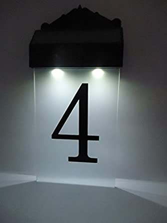 flurida solar powered led house number wall light. Black Bedroom Furniture Sets. Home Design Ideas
