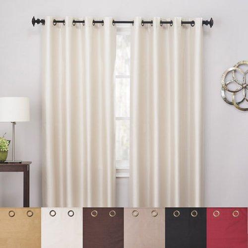 bella luna ivory 84 faux silk blackout curtains look