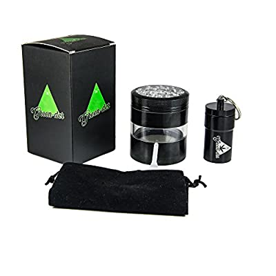 Perfect Herb Grinder Set for Weed, Spice & Tobacco including: Large, 4 pieces, 2.5 inch diameter, Top Quality Aluminum Grinder with Pollen Catcher & Airtight Container with Lid, Ideal for Storage