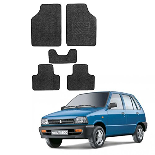 Allure Auto Heavy Quality Set of 5 Carpet ( Black) Car Foot Mat / Car Floor Mat for Maruti Suzuki 800