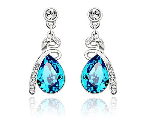 Swarovski Elements Blue Tear Drop Crystal Platinum Plated Dangle Drop Earrings for Women Jewelry (Tin Man Nose)