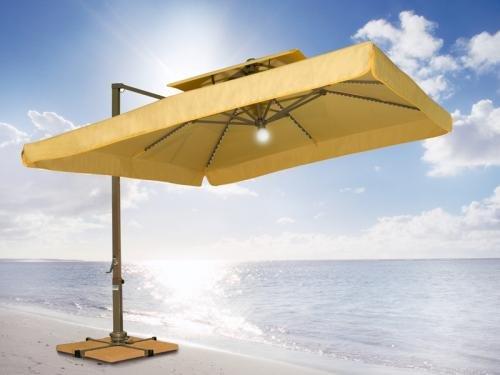 Patio Umbrella   Wanda Portofino Pro 10x10 Lighted Tilting Offset Umbrella    Sunbrella Canopy   Canvas