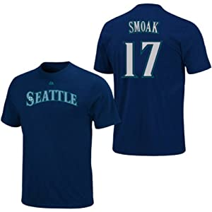 Justin Smoak Seattle Mariners Navy Player T-Shirt by Majestic by Majestic