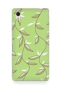 Amez designer printed 3d premium high quality back case cover for Sony Xperia M4 (Green Leaves)