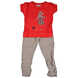 Bio Kid Designer Baby Top & Full Bottom - Red T Shirt & Grey Melange Leggings - 2 Pcs Set Pack (6 - 9 Months)