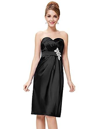 Ever Pretty Strapless Ruffles Diamante Padded Satin Cocktail Dress 03542, HE03542BK18, Black, 16US