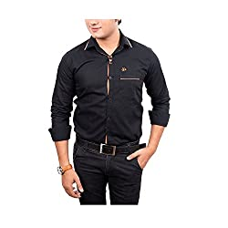 Aedi Mens Casual Cotton Shirts (BLK43SR_Black_S)