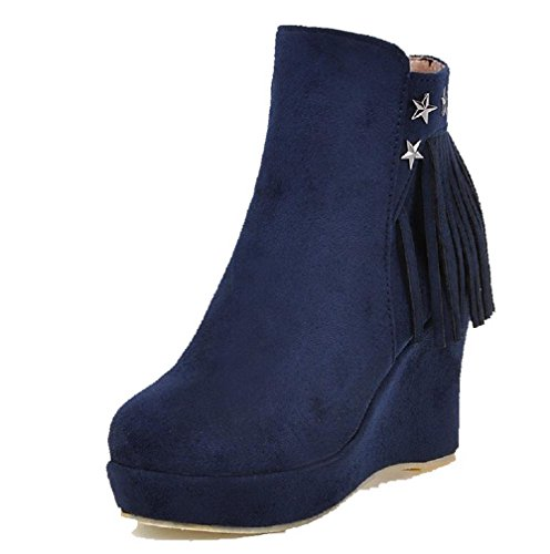 AgooLar Donna Cerniera Tacco Alto Pelle Di Mucca Chiodato Bassa Altezza Stivali, Azzurro, 43
