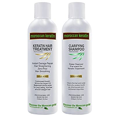 Moroccan Keratin for Brazilian Keratin Hair Treatment GOLD SERIES Proven Formula 250ml x2 With Clarifying Shampoo Made in USA
