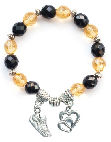 """Running Shoe"" Girls Running, Cross Country & Track Bracelet (Team Colors Black & Gold)-Small"