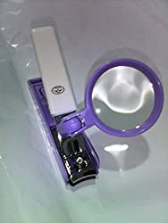Rime Nail Clipper with 2X Zoom Magnifying Glass (White-Purple)