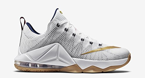 Nike Lebron 12 Low (USA) White/Navy-Gum-Red (9) (Air Lebron Slide compare prices)