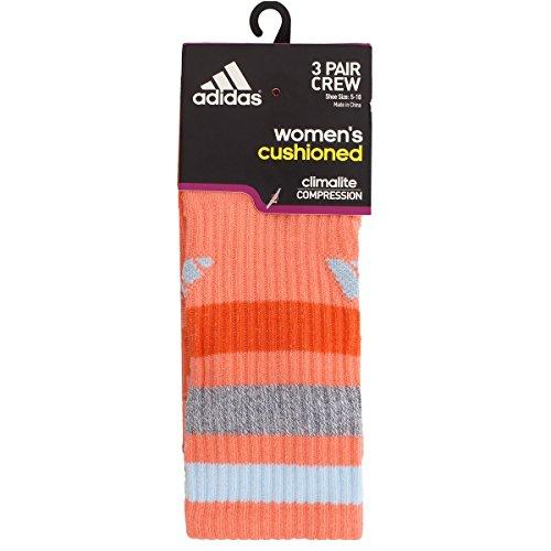 Adidas Womens Cushioned 3-Pack Crew sock, Sun Glow/black/Heather Grey/Ice Blue/Super Orange, One Size