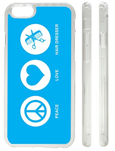 Rikki Knighttm Peace Love Hair Dresser Sky Blue Design Iphone 6 Case Cover (Clear Rubber With Front Bumper Protection) For Apple Iphone 6 front-557669