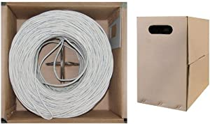 C&E 1000 feet CAT 6 23AWG 4PR UTP Plenum Solid  Ethernet Cable CMP Rated White
