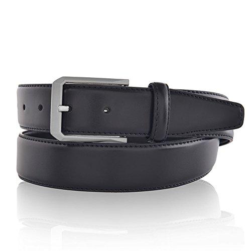 Black Smooth Leather Belts for Men Fashion 35mm Wide Strap 36 (Designer Leather Belts compare prices)