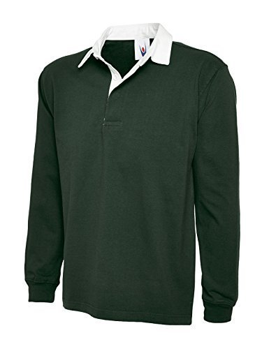 uneek-new-mens-plain-premium-rugby-shirt-bottle-green-x-large