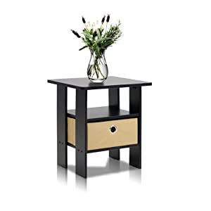 Furinno 11157EX/BR (99978E) Espresso Living Set, End Table Bedroom Night Stand