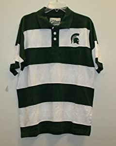 Michigan State Spartans NCAA Stripe Polo Shirt Green White by Colony