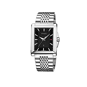 Gucci Men's YA138401 Gucci G-Timeless Rectangle Analog Display Swiss Quartz Silver Watch