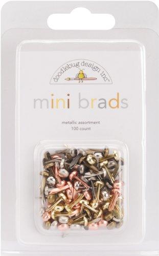 Doodlebug Mini Brad Multipacks 100/Package, Metallic