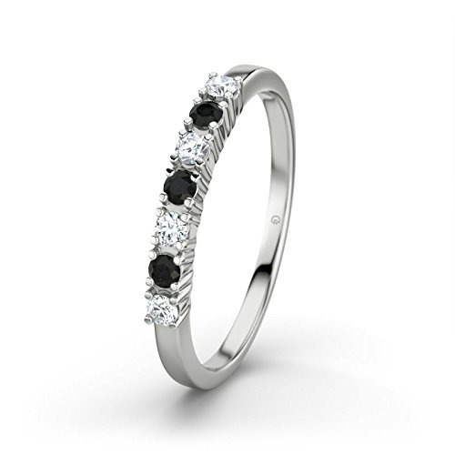 21DIAMONDS Women's Ring Linda Black Round Brilliant Cut Diamond Engagement Ring - Silver Engagement Ring