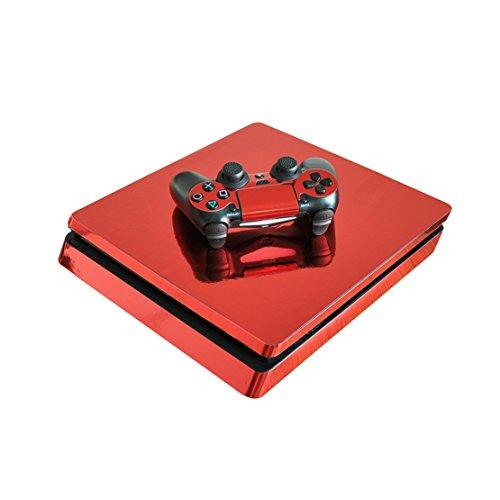 DOTBUY PS4 Slim Pelli Playstation 4 Slim Vinile Adesivi Skin Sticker Giochi PS4 Slim Sistema + Due Decalcomanie del Dualshock Controller (Glossy Red)