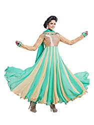 Fstore Firozi embroidered georgette semistitched salwar suit