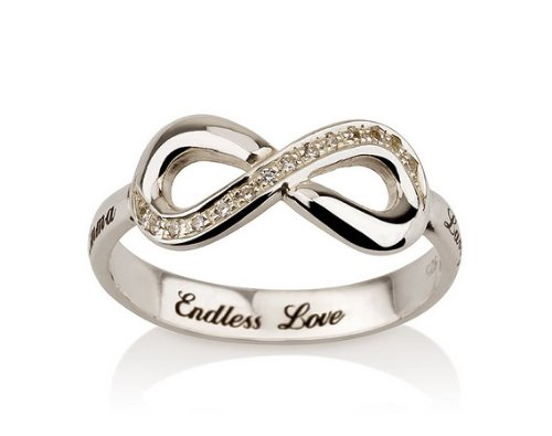 Engraved Infinity Ring, 925 Sterling Silver Infinity ring, Promise Ring with Swarovski CZ- Size (7.5)