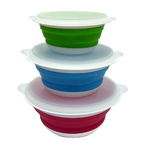 Mouldsure Set Of 3 Foldable Microwave Bowls With Lid
