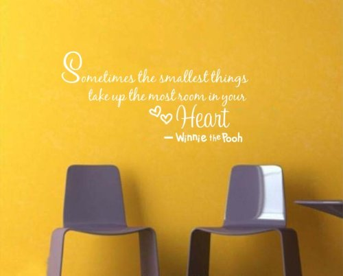 """Nursery Wall Decor Quote Decal Winnie The Pooh Wall Saying """"Sometimes The Smallest Things Take Up The Most Room In Your Heart"""" Art Vinyl Lettering Kid'S Room Wall Decor (White) front-271328"""