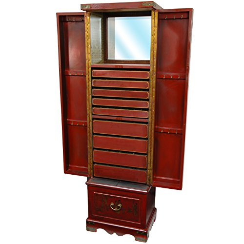 Oriental furniture red lacquer floor jewelry armoire for Red chinese furniture
