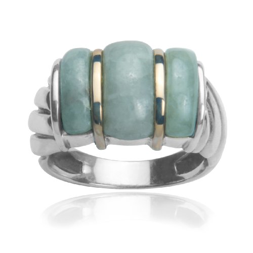 Sterling Silver and 14k Gold Green Jade Ring, Size 6