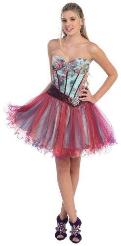 Strapless Cocktail Party Junior Prom Short Printed Dress #826 (8)