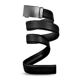Mission Belt Men\'s Ratchet Belt - Gun Metal - Gun Metal Buckle / Black Leather Strap, Large (36 - 38)