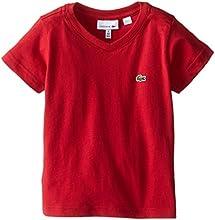 Lacoste Little Boys39 Short Sleeve Classic Jersey V Neck Tee Shirt