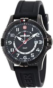 Wenger 77073 - Reloj analógico de caballero de cuarzo con correa de silicona negra