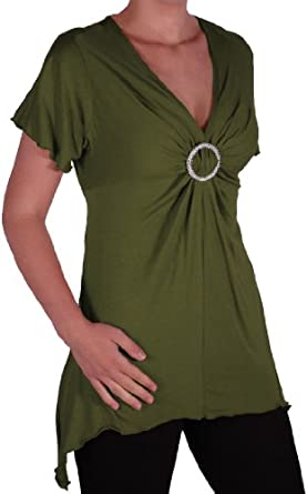 EyeCatch - Solange Womens Asymmetrical Short Sleeve Stretch Diamante Ladies V Neck Top Khaki Size 14