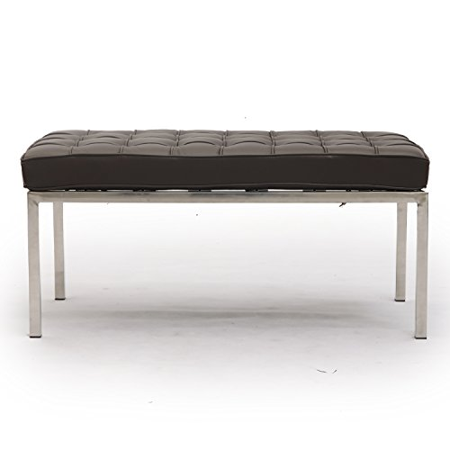 Florence Knoll Style Bench 2 Seater, Choco Brown Premium Leather