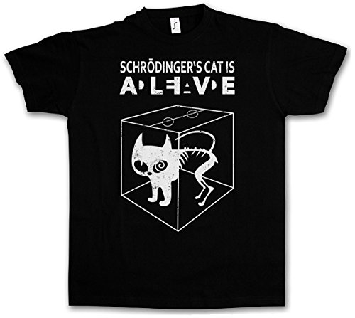 SCHRÖDINGERŽS CAT IS ALIVE DEAD II T-SHIRT - The Big Schroedinger TV Bang Theory Sheldon Taglie S - 5XL